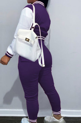 Purple Casual Webbing Spliced Ribber Letter Printing Long Sleeve Cardigan Jacket Coat Trousers Baseball Uniform Sets SM9213-5