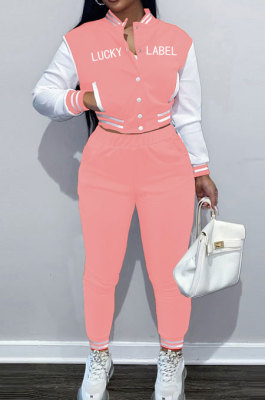 Pink Casual Webbing Spliced Ribber Letter Printing Long Sleeve Cardigan Jacket Coat Trousers Baseball Uniform Sets SM9213-4