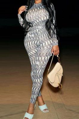 Gray Women Fashion Printing Long Sleeve Sexy Bodycon Jumpsuits AGY68521