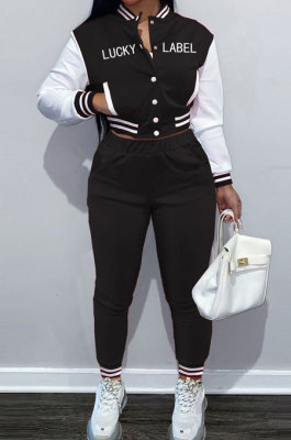 Black Casual Webbing Spliced Ribber Letter Printing Long Sleeve Cardigan Jacket Coat Trousers Baseball Uniform Sets SM9213-1
