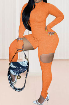 Orange Red Women Fashion Sexy Hole Pure Color Ribber Anchored Pants Bodycon Jumpsuits AGY68522-3