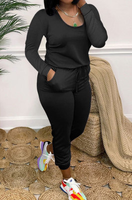 Black Casual Solid Color Long Sleeve Round Neck Zip Back Collect Waist Slim Fitting Jumpsuits XXR3002-4
