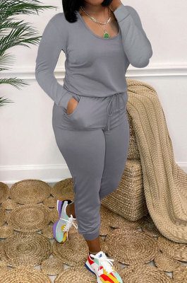 Grey Casual Solid Color Long Sleeve Round Neck Zip Back Collect Waist Slim Fitting Jumpsuits XXR3002-5