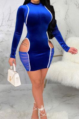 Blue Night Club Spliced Long Sleeve O Neck Hollow Out Slim Fitting Hip Dress SMR10699-3