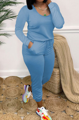 Blue Casual Solid Color Long Sleeve Round Neck Zip Back Collect Waist Slim Fitting Jumpsuits XXR3002-3