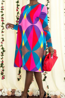 Multicolor Casual Geometric Graphic Printing Long Sleeve Round Neck Loose Dress YNS1679