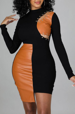 Black Women Trendy Sexy Skinny Hip Spliced PU Mid Waist Mini Dress CCY9299-1