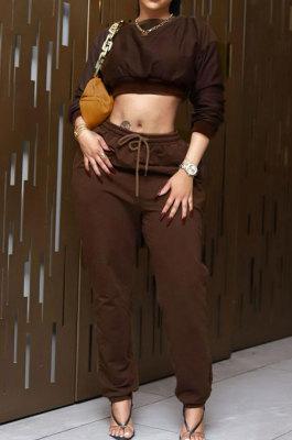 Coffee Women Fashion Casual Pure Color Dew Waist Pants Sets AGY68525-3