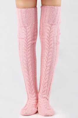 Pink Knitted Thigh Hihg Socks in WLW01-6