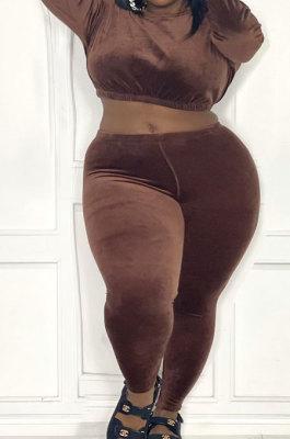 Coffee Fat Women's Velvet Long Sleeve Round Neck Crop Tops Skinny Pants Plain Color Sets ZDD31170-3