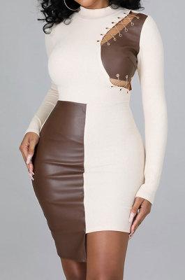 White Women Trendy Sexy Skinny Hip Spliced PU Mid Waist Mini Dress CCY9299-2