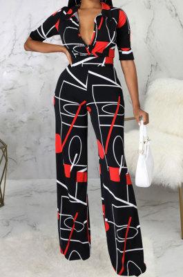 Black Fashion Digital Printing Half Sleeve V Neck Collect Waist Wide Leg Jumpsuits SMR10686-1