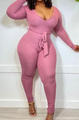 Pink New Ribber Long Sleeve V Neck Beltband Slim Fitting Solid Color Jumpsuits ZDD31171-3