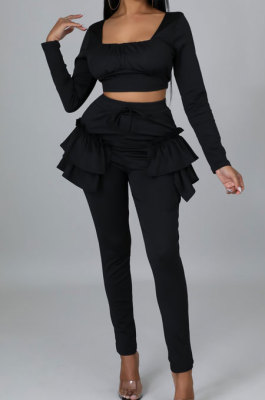 Black Pure And Fresh Women Long Sleeve Square Neck Ruffle Crop Top Trousers Solid Color YYZ943-2