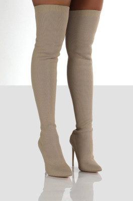 Knitted Thigh High Boots in Apricot