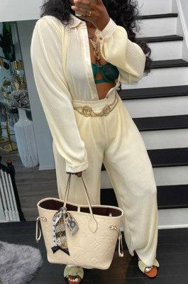 Cream White Ribber New High Quality Long Sleeve Lapel Neck Shirts Wide Leg Pants Plain Color Sets YM221-4