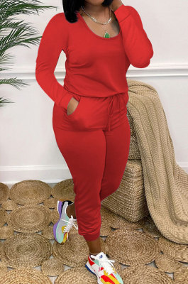 Red Casual Solid Color Long Sleeve Round Neck Zip Back Collect Waist Slim Fitting Jumpsuits XXR3002-2