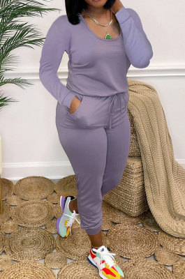 Purple Casual Solid Color Long Sleeve Round Neck Zip Back Collect Waist Slim Fitting Jumpsuits XXR3002-1