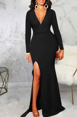 Black Elegant Sexy Long Sleeve V Neck Collect Waist Plain Color For Party Maix Dress SMR10735-2