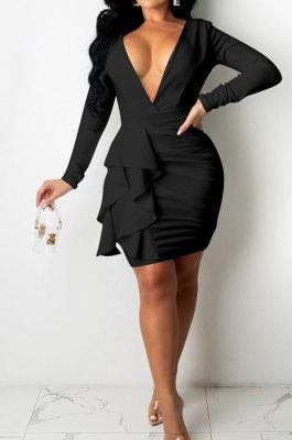 Black Sexy Cotton Blend Long Sleeve Deep V Neck Ruffle Plain Color Wrap Dress YYZ866-2