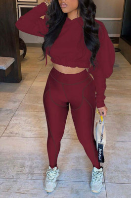 Wine Red Women Fashion Casual Dew Waist Pure Color Bodycon Pants Sets ED1072-3