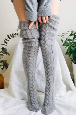 Grey Knitted Thigh Hihg Socks in WLW01-3