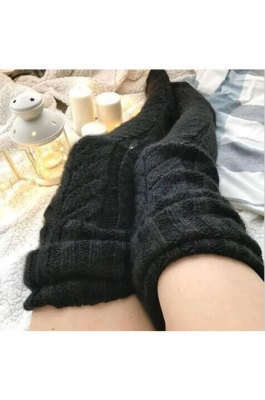 Black Knitted Thigh Hihg Socks in WLW01-1