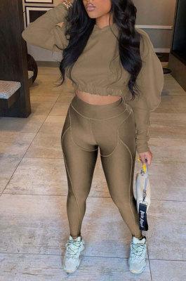 Coffee Women Fashion Casual Dew Waist Pure Color Bodycon Pants Sets ED1072-4