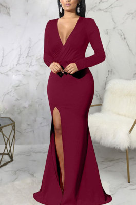 Wine Red Elegant Sexy Long Sleeve V Neck Collect Waist Plain Color For Party Maix Dress SMR10735-1