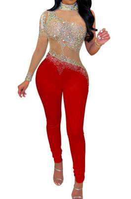 Red Women Fashion Sexy Casual Perspectivity Skinny Hot Drilling Bodycon Jumpsuits CCY9279-5