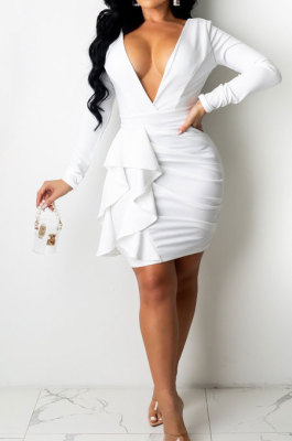 White Sexy Cotton Blend Long Sleeve Deep V Neck Ruffle Plain Color Wrap Dress YYZ866-1