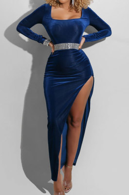 Blue Fashion Sexy Velvet Long Sleeve Square Neck For Party High Slits Slim Fitting Dress ZS0428-3
