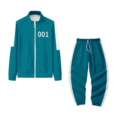 Autumu Winter Unisex Long Sleeve Stand Neck Zip Front Tops Trousers Sports Sets TW656949331064-1