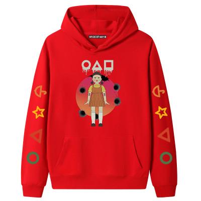 Red Squid Game Fleece Casual Pullover Hoodie Tops Unisex PBQY20201125-1