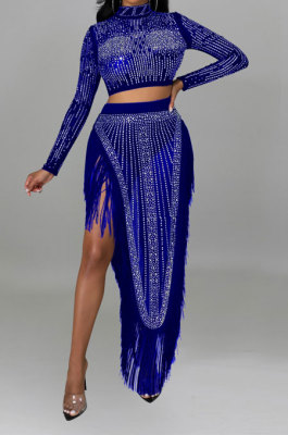 Blue Women Long Sleeve Round Collar Hot Drilling Sexy Side High Split Tassel Skirts Sets CCY9327-4