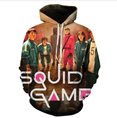 Squid Game Digital Printing Pullover Hooded Fleece Long Sleeve Casual Baseball Uniform Unisex HQS01