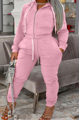 Pink Autumn Winter Fat Women Long Sleeve Cardigan Zipper Hoodie Trousers Solid Color Sets YSH86272-5