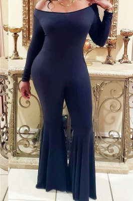 Black Sexy Cotton Blend Long Sleeve Slim Fitting Solid Color Flare Jumpsuits ZMM9123-3