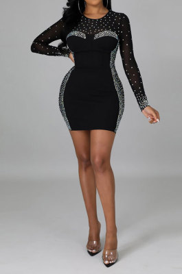 Black Women Sexy Bling Bling Hip Perspectivity Pullover Mid Waist Mini Dress CCY9325-2
