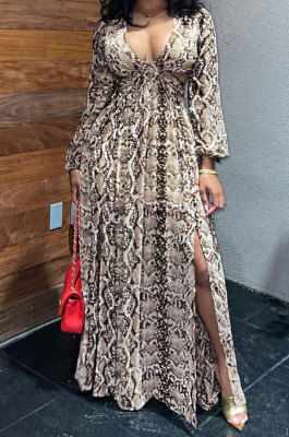 Camel White Sexy Snakeskin Long Sleeve V Neck Hollow Out Collect Waist Long Dress ZS0427-2
