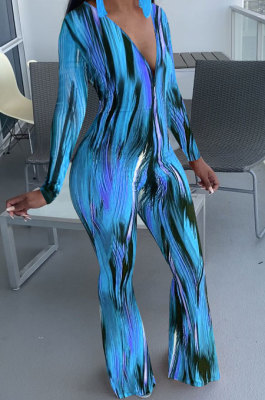 Blue Wholesale Women Printing Long Sleeve V Neck Collect Waist Flare Jumpsuits ZMM9125-2