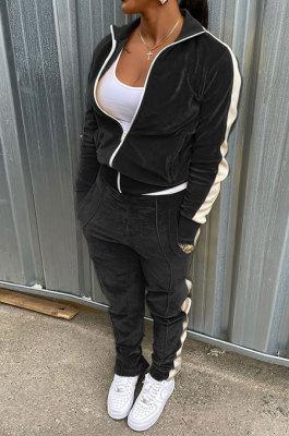 Black Wholesale Velvet Side White Stripe Cardigan Zip Front Jacket Coat Trousers Sport Sets BM7235-1