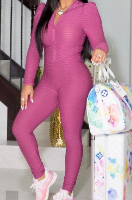 Pink Women Autumn Winter Sport Yoga Long Sleeve Cardigan Zipper Solid Color Casual Pants Sets LD81046-1