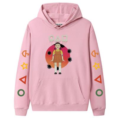Pink Squid Game Fleece Casual Pullover Hoodie Tops Unisex PBQY20201125-5