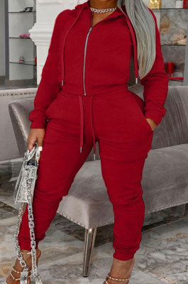 Red Autumn Winter Fat Women Long Sleeve Cardigan Zipper Hoodie Trousers Solid Color Sets YSH86272-6