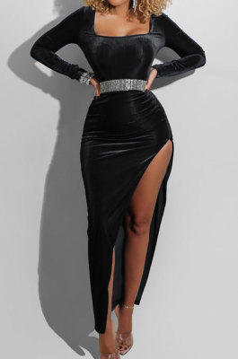 Black Fashion Sexy Velvet Long Sleeve Square Neck For Party High Slits Slim Fitting Dress ZS0428-2
