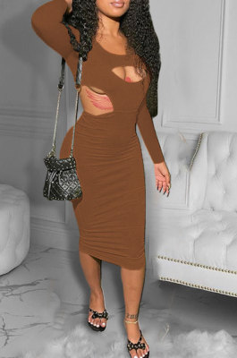 Brown Women Pure Color Bodycon Ribber Hole Long Sleeve Midi Dress ED1080-1