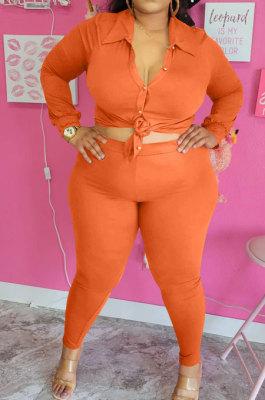Orange Big Yards Fat Women Long Sleeve Single-Breastedd Shirts Skinny Pants Solid Color Sets BBN210-2