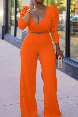 Orange Red Sexy Pure Color Puff Sleeve V Neck Back Bandage Crop Tops Wide Leg Pants Sets ZMM9126-3
