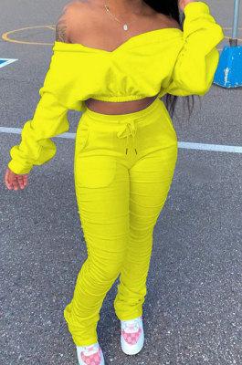 Yellow Women Batwing Sleeve Pure Color Long Sleeve Crop Ruffle Pants Sets LD8768-2
